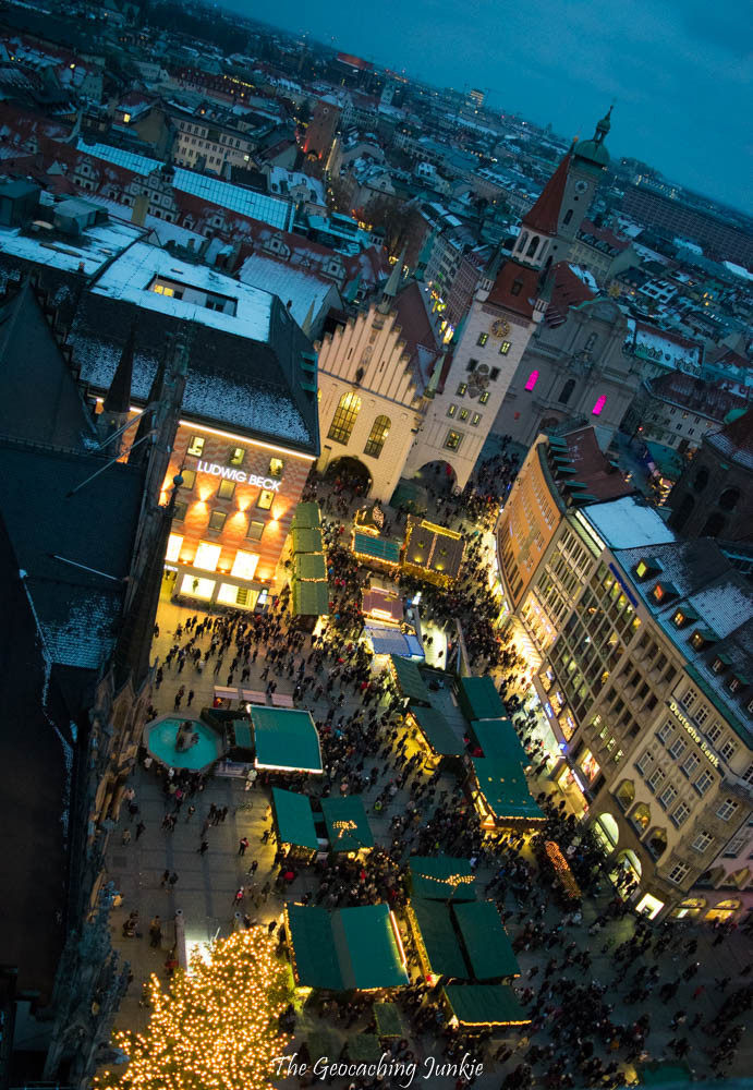 A view down to the Christmas market at Marienplatz from the tower of the Rathaus in Munich, Germany