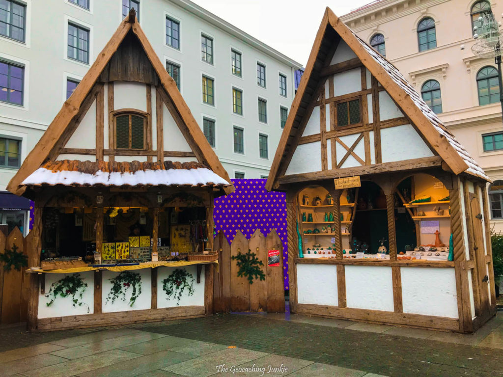 Two medieval style huts at the Mittelaltermarkt in Munich, Germany