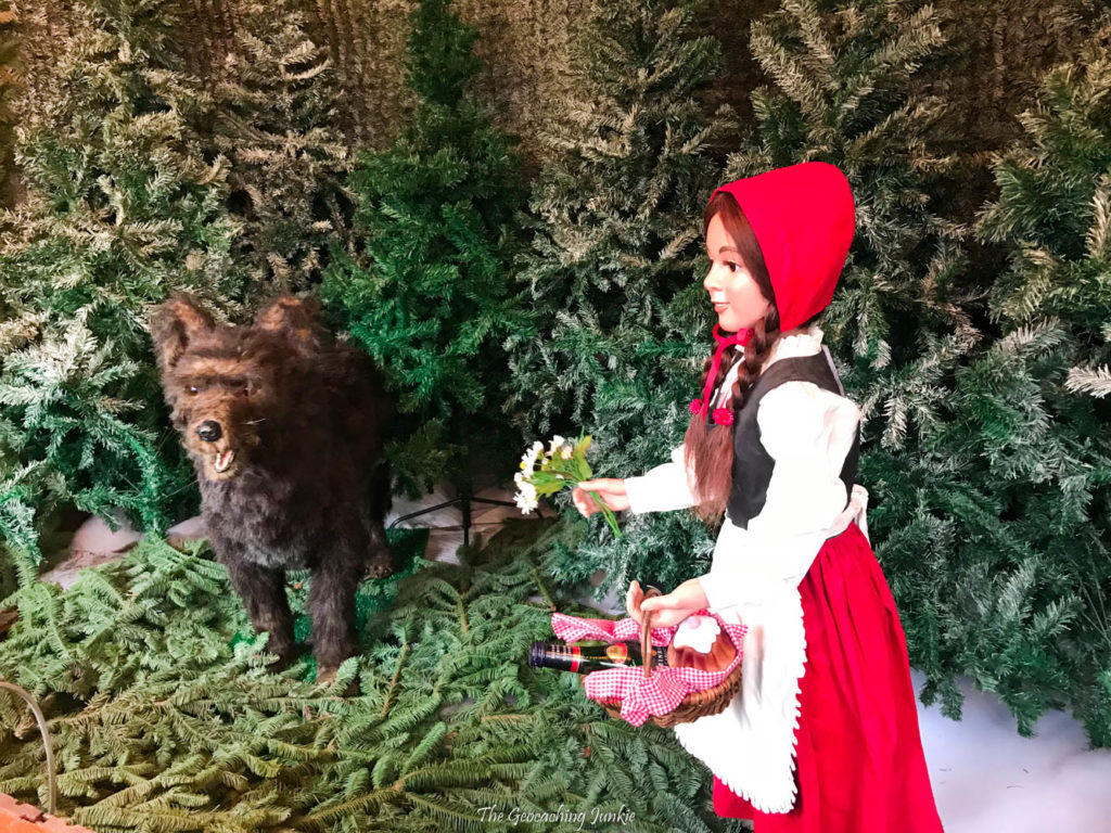 Little Red Riding Hood and the big bad wolf in a Christmas forest scene at the Maerchenwald in Old Residenz, Munich, Germany